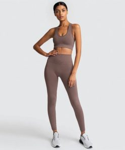 Seamless Women Yoga Sets-Champagne